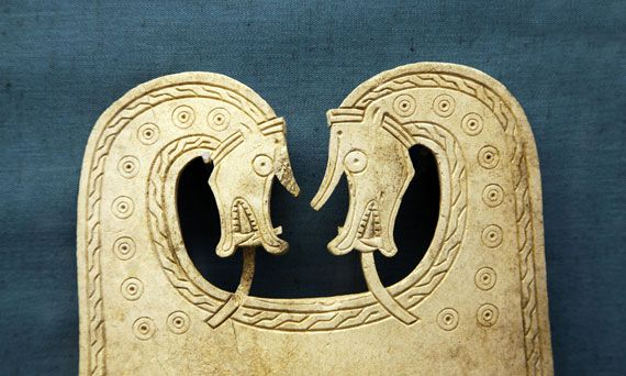 viking orkney scotland | whalebone plaque from a Viking ship burial, Orkney Museum