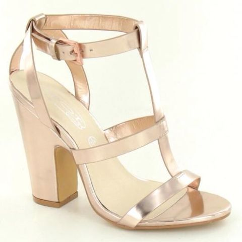 Faux Leather Cut Out Block Heel Strappy Sandals Metallic Rose Gold