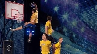Face Team basketball acrobatics - Britain's Got Talent 2012 audition - International version, via YouTube.