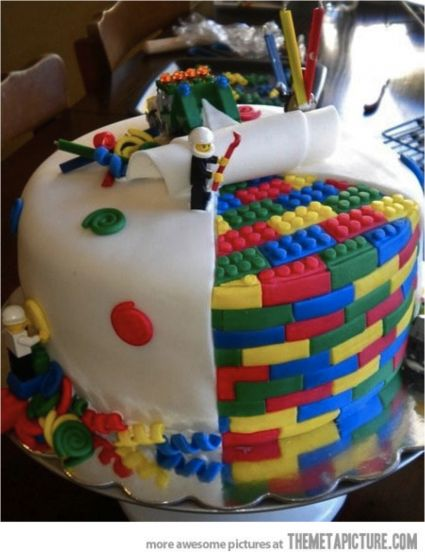 amazing Lego cake  Too complicated for me to attempt, but I know my son would love this cake for his birthday!