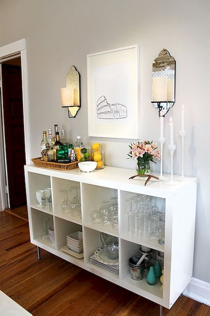 Nalle s house diy floating sideboard - 50 Affordable Apartment Coffee Bar Cart Ideas