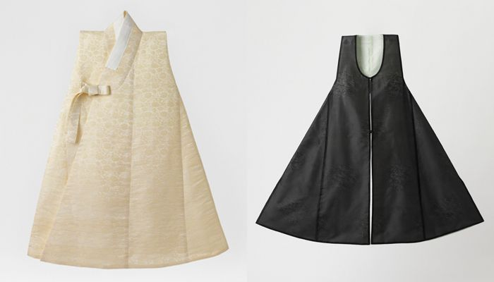 The dapho (left) is a short-sleeved garment usually worn over an outer coat and the jeonbok is a sleeveless, collarless robe worn over the durumagi.