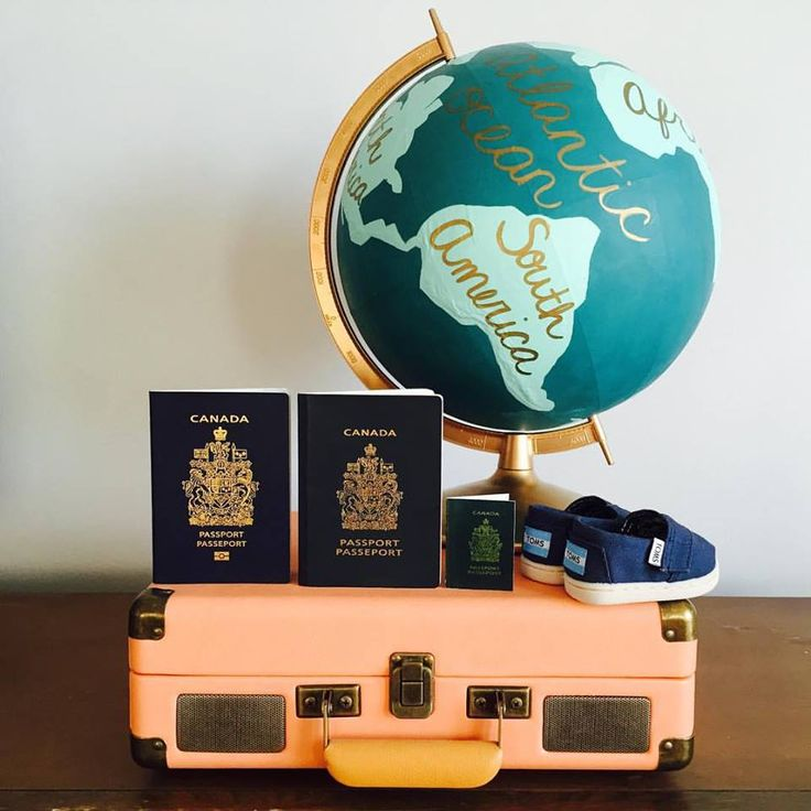 Our Pregnancy Baby Reveal Announcement Photo. Passport, toms, travel, record, mid century