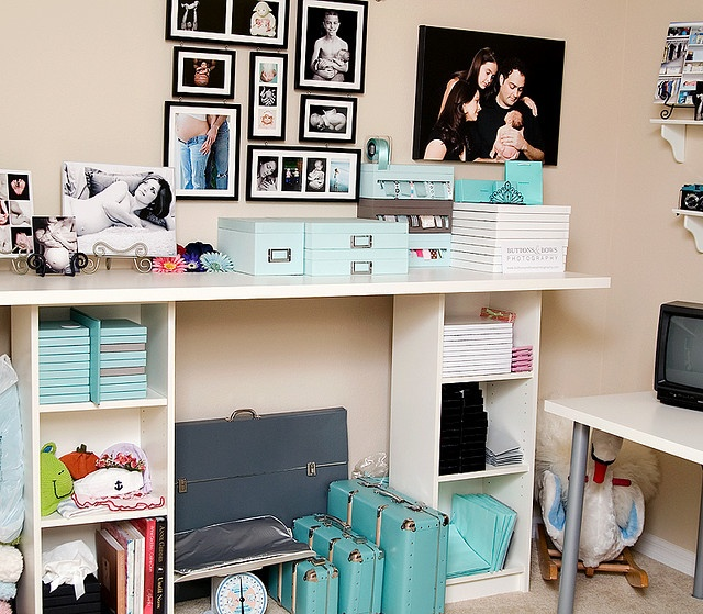 """I get asked often where I got my wrapping station. I'm actually on v 2.0 (same exact furniture pieces, different house / office) - but here are the instructions to put one together using IKEA bookshelves and an IKEA table top.  (Please note, you need to be tall - or work on a stepstool if you're not - to use this.  I'm 5'10"""" and I created it for my height.)"""