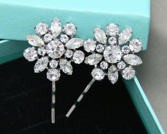 Ster bruiloft bloemenmeisje haar Bobby Clips, bloem ster bruids Hair Clips Bobby Clips, Vintage stijl Rhinestone bruiloft haar Clips U-Pins