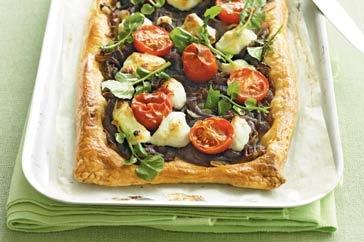Goat's cheese, onion and cherry tomato tart main image