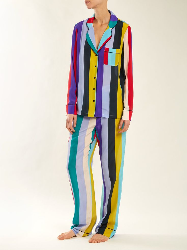 Click here to buy Diane Von Furstenberg Straight-leg striped pyjama trousers at MATCHESFASHION.COM