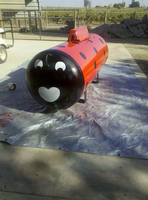 I didn't like the boring old propane tanks so I painted mine into a ladybug