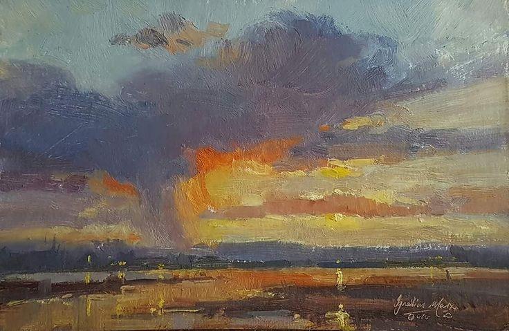 Small study - Knysna Evening, Oil on Board, 23x15cm. Ignatius Marx
