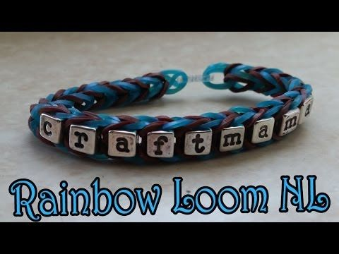 ▶ Rainbow Loom Naamarmband In Vissengraat Nederland Nl Tutorial - YouTube