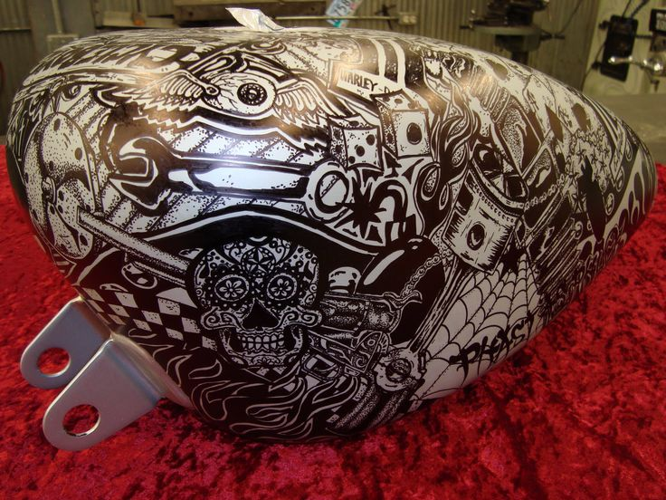 Sharpie decorated motorcycle fuel tank.