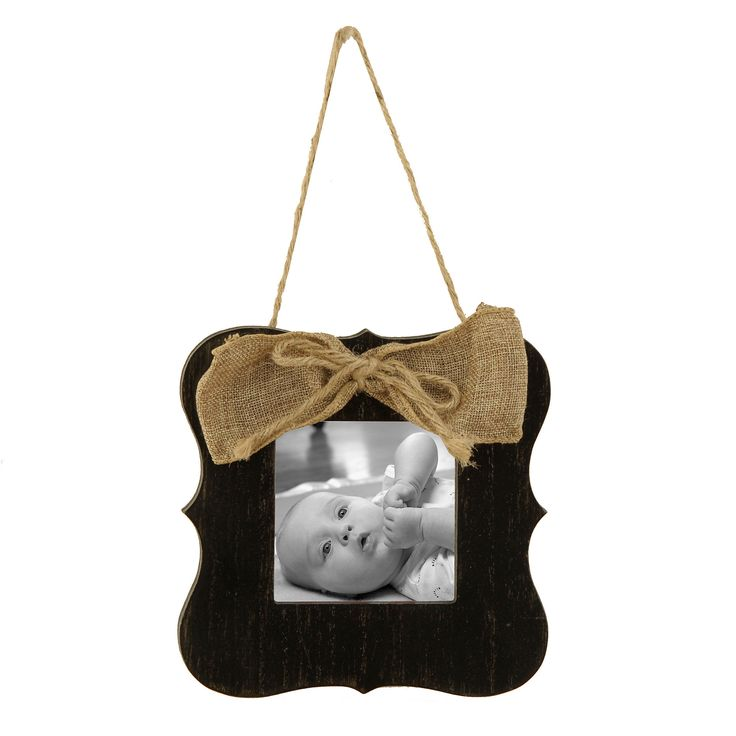 Black Burlap Bow Hanging Picture Frame, 4x4 | Kirklands