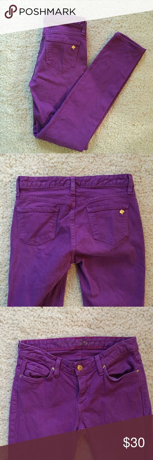 Kate Spade Purple Skinny Jeans Size 26 Very good condition skinny jeans. Color purple. Inseam 30.25 inches.  Waist measures 14.5 inches across. kate spade Jeans Skinny