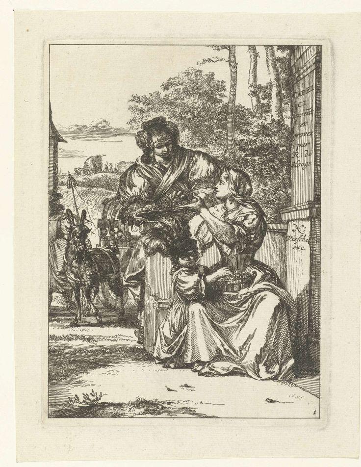 Romeyn de Hooghe | Titelprent van serie Capricci, Romeyn de Hooghe, 1655 - 1708 | Een zittende vrouw met een mand kersen op haar schoot en een kind dat in de mand graait. De vrouw keert zich om naar een staande vrouw met een schaal met kersen. Op de achtregrond een bokkenwagen met kind. Rechts op zuil de titel van de serie en de namen van De Hooghe en Visscher.