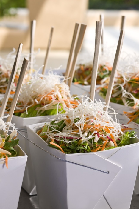 Salad or noodles in a chinese noodle box - great idea for boxed lunch