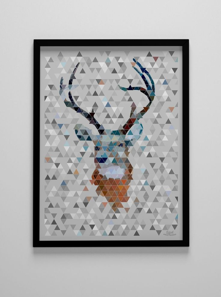 Läjet Printworks - Geometrisk hjort 30x40
