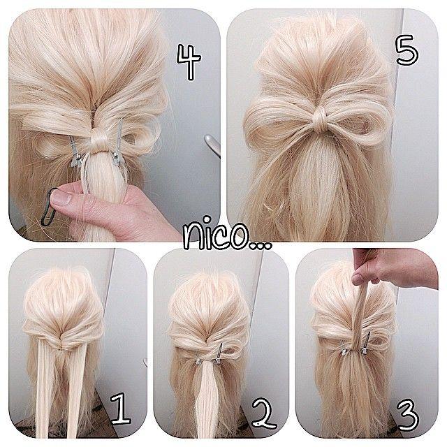 リボンの作り方!!! とにかく簡単です! くるりんぱがあるとこんなに楽ですよ〜〜〜♪ 1 くるりんぱをしてほぐす!そしてリボンにしたい量の毛束をとります! 2 リボンにするための輪っかをつくりピンなどで止めます! 3 くるりんぱした毛先をリボンを抑えるためにもう一回巻きつけます! 4 ゴムでくるりんぱして落ちてる髪とリボンを抑えるために巻きつけた髪をゴムでしばります!!抑えが足りなけらばピンなど使って下さい! あとはリボンの毛先を巻いたりして完成です! 是非試してみてください! #nico...#hairsalon#撮影#ヘアスタイル#スタイル#美容室 #ヘアアレンジ#アップスタイル #アレンジ#アップスタイル #ニコ#結婚式#結婚式アップ#クルリンパ#波ウェーブ#ヘア#オシャレ#ヘアセット#くるりんぱ#アレンジ解説#ヘアアレンジ解説#hairarrange#リボン#リボンの作り方#りぼん#ヘアアレンジnico