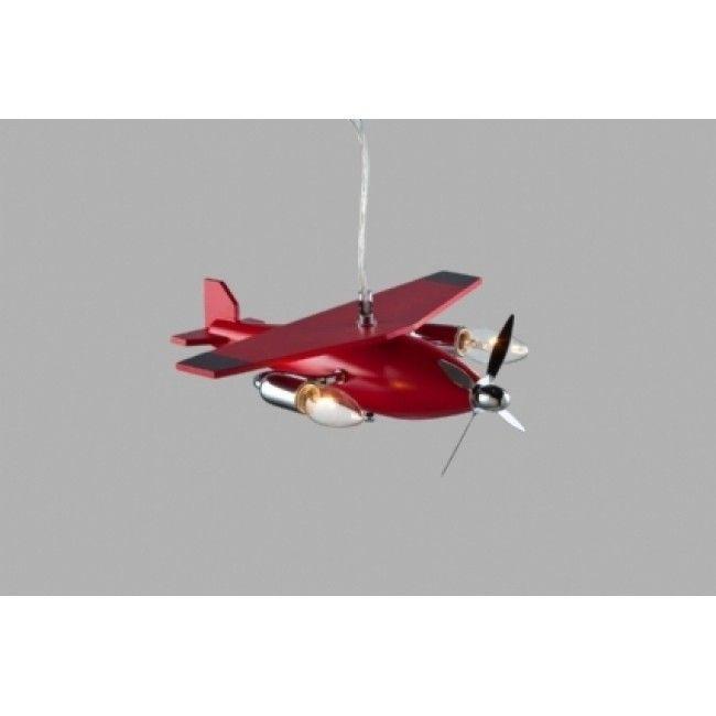 Avonni Kırmızı Ahşap Uçak Modelli Çocuk Odası Avizesi -AV-1366-BKR