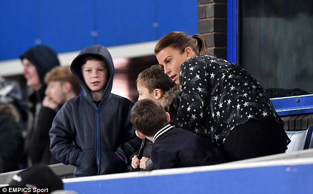 Coleen Rooney cheers husband Wayne from stands with sons | Daily Mail Online