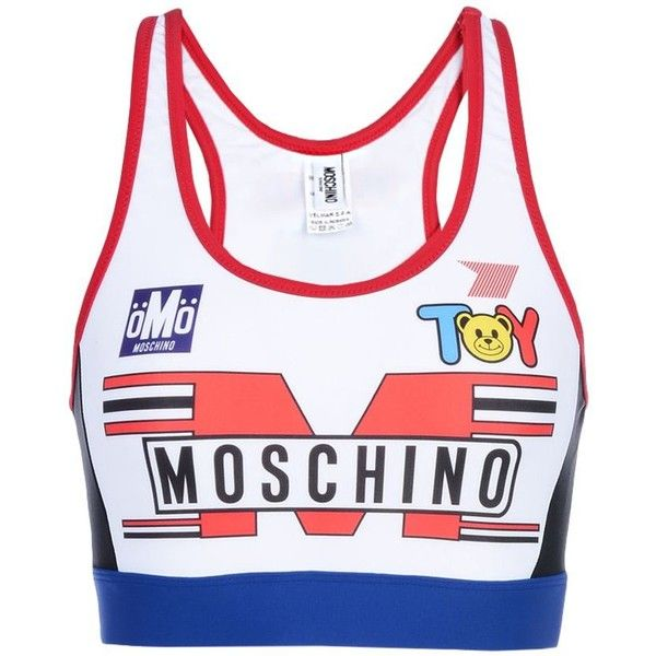 Moschino Top ($105) ❤ liked on Polyvore featuring tops, white, colorful tops, white top, white sleeveless top, white jersey and moschino