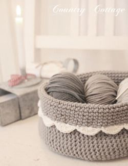 "hooked-on-needles: ""(via My Country Cottage Garden: A little grey crocheted basket) "" Very pretty …"