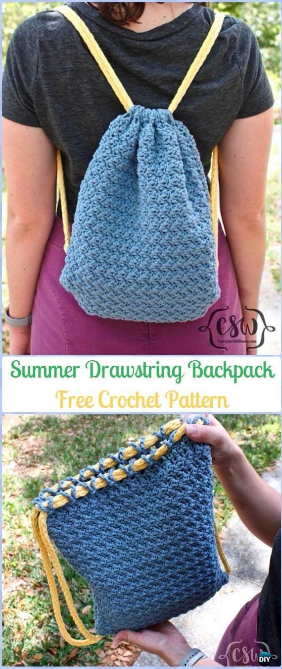 Crochet Summer Drawstring Backpack Free Pattern -Crochet Backpack Free Patterns Adult Version
