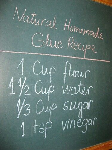 Homemade Elmers Glue. Non toxic edible... Great for toddlers... Can also be used as paper mache medium.