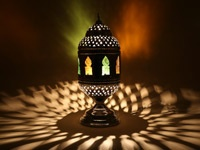 Brass Multicoloured Arabian Table Lamp : Moroccan Bazaar