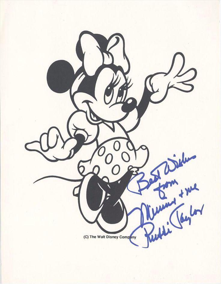 Walt Disney Minnie Mouse Fan Card signed by Voice Actor Russi Taylor
