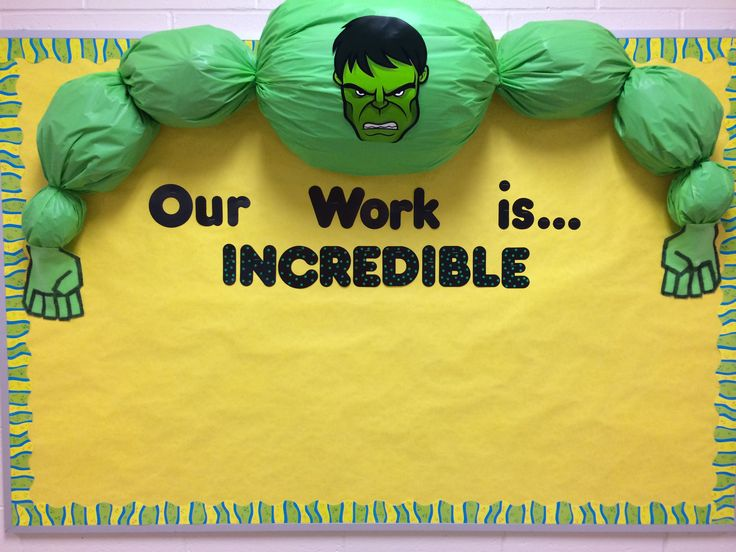 "Will hang up work once school starts. But for the opening of school, I changed the words to, ""Our class is...INCREDIBLE"" and had my students' names posted on the bulletin board."