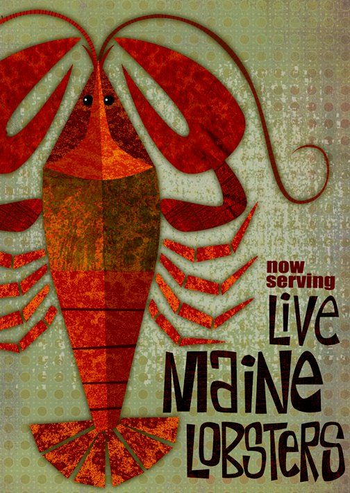 maine lobster poster by michael robertson