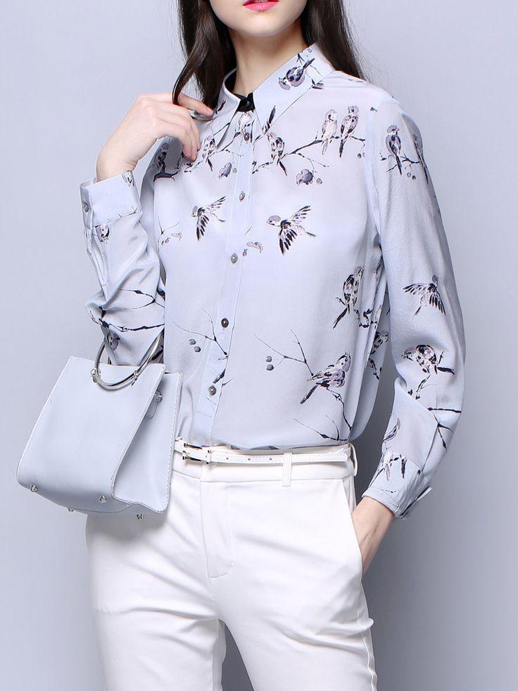 Shop Blouses - Multicolor Casual Silk Animal Print Blouse online. Discover unique designers fashion at StyleWe.com.