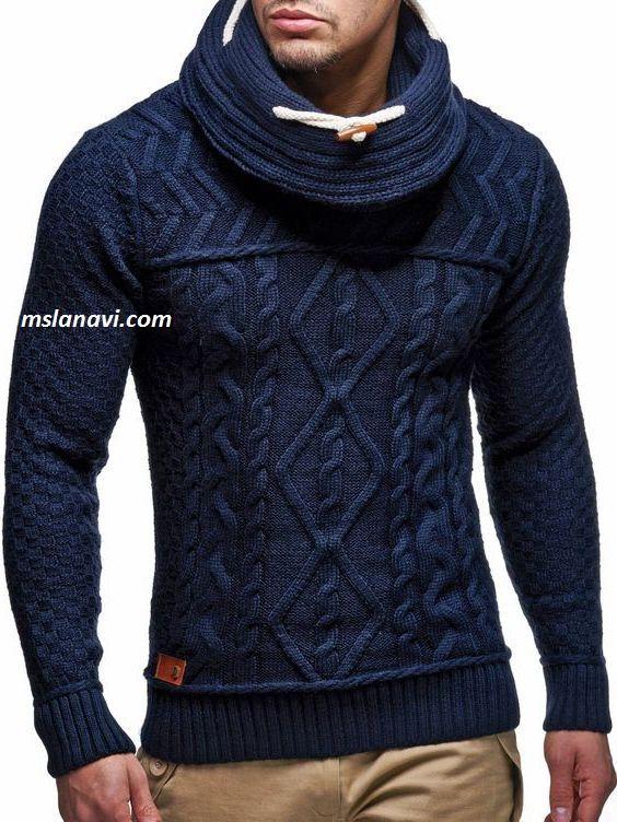 Приталенный мужской свитер спицами - СХЕМЫ  http://mslanavi.com/2017/05/pritalennyj-muzhskoj-sviter-spicami/
