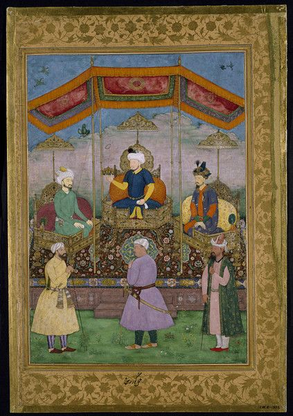 """""""Timur (1336–1405), the Central Asian ruler from whom the Mughals were descended, sits in the centre of this allegorical painting handing the imperial crown to the founder of the Mughal dynasty, Babur (r.1526–1530), who is seated to his right. On his left is Babur's son Humayun, the second Mughal emperor (r.1530–1540 and 1544–1545), who briefly lost the throne and was forced into exile in Iran."""
