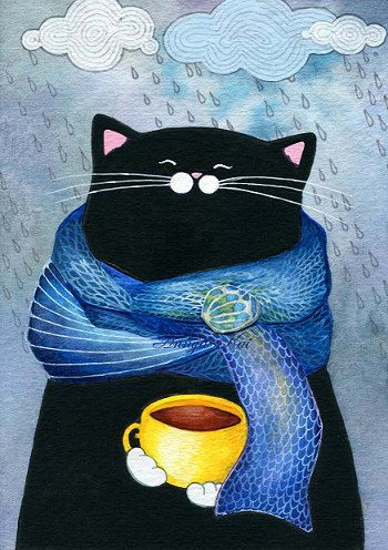 Rainy Day Fashion Cat with Coffee Cup Cerulean Blue by annya127