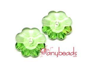 Peridot - Swarovski Crystal Elements 3700 Flower 6mm  #peridot #Swarovski #crystal #3700 #beads #crystalbeads #jewelrysupplies #anybeads