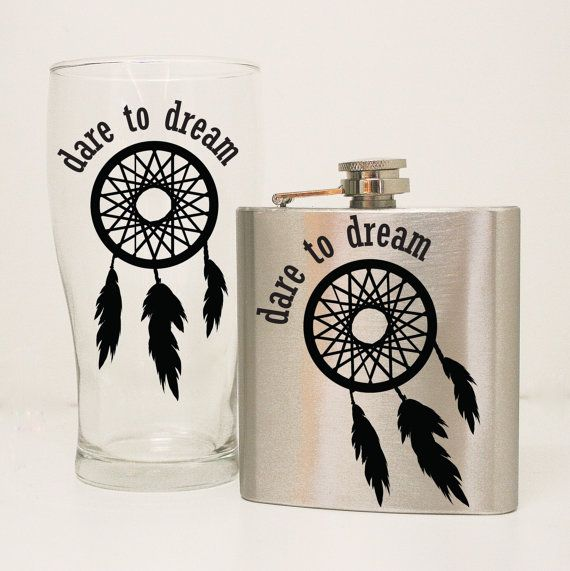 Dare to Dream - Dream Catcher Quote Flask Set - 21st Birthday Flask Gift Set, Girls birthday Gift, 21st Birthday Gift, Dream Saying