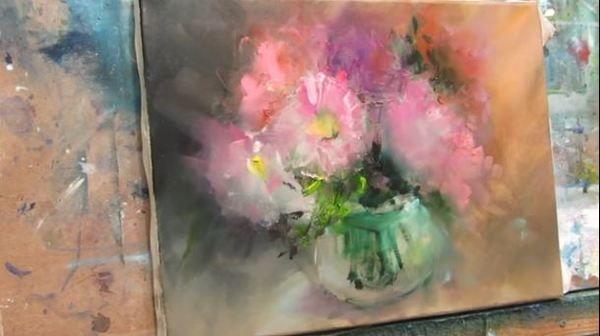 Dessin et peinture - vidéo 1912 : Le vase de dahlias - peinture impressionniste à l'huile à voir en musique.