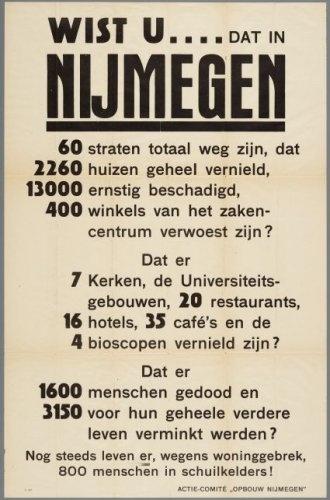 Oproep 1945 voor de opbouw van een verwoest Nijmegen.