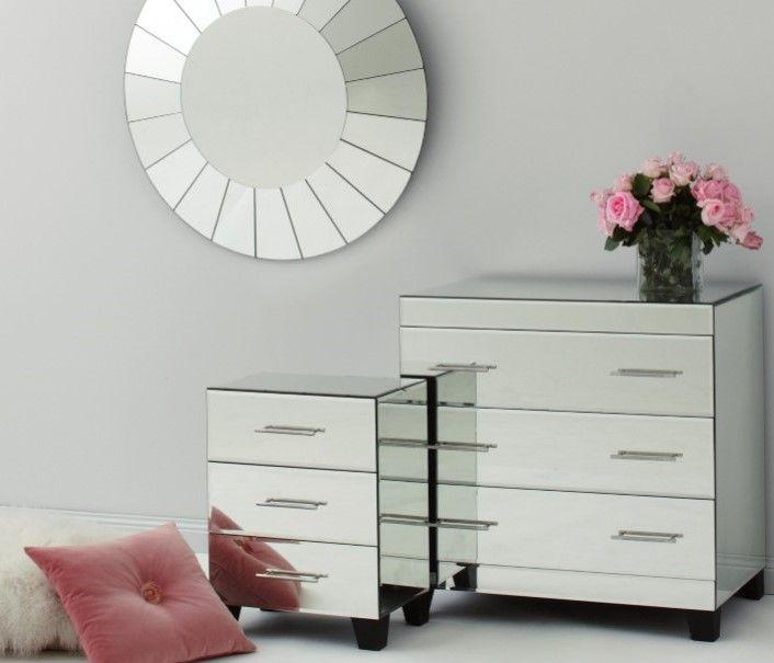Isabelle Range Mirrored 3 Drawer Bedside