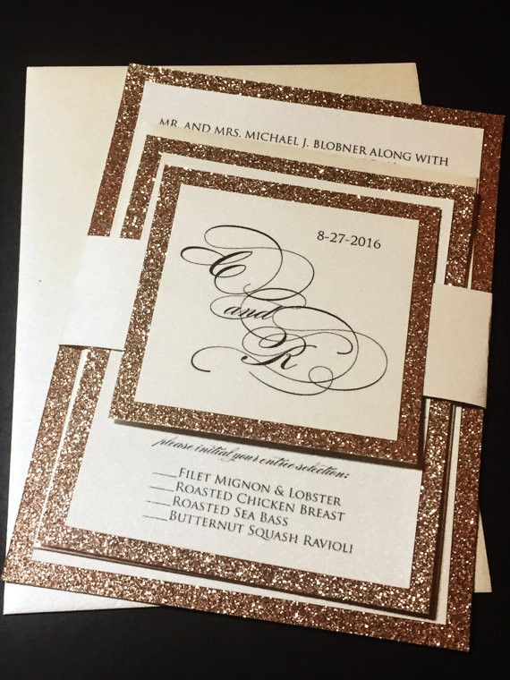 This listing is for a sample of a layered die cut wedding invitation with a glitter cardstock backing enclosed with a belly band and a glitter tag embellishment. Please note the sample can not be cust