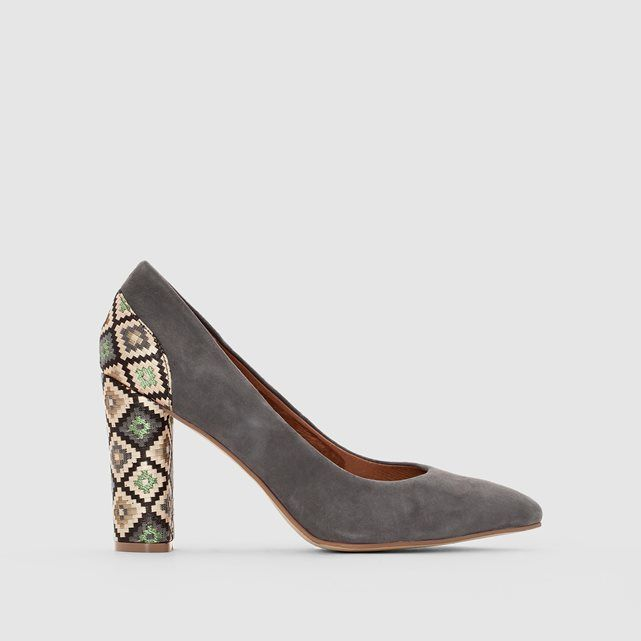 Image Leather Court Shoes with Ethnic Motif LA REDOUTE