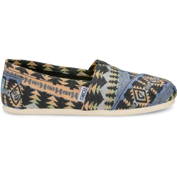 TOMS Blue Multi Tribal Woven Women's Classics Slip-On Shoes ($36) ❤ liked on Polyvore featuring shoes, blue, toms footwear, print shoes, woven shoes, elastic shoes and tribal shoes