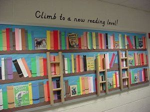 OMG!  I LOVE the ladders.  I want to do something like this in my class library OR the end of the hall display!
