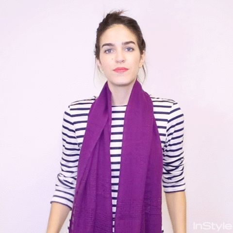 18 Ways to Tie a Scarf—Demoed with GIFs - The Front Tie - from InStyle.com