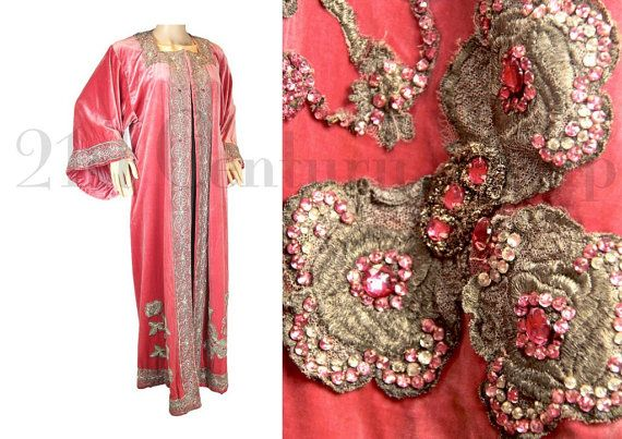 Edwardian Opera Coat. Jewelled Pink Velvet with by 21stCenturyVamp