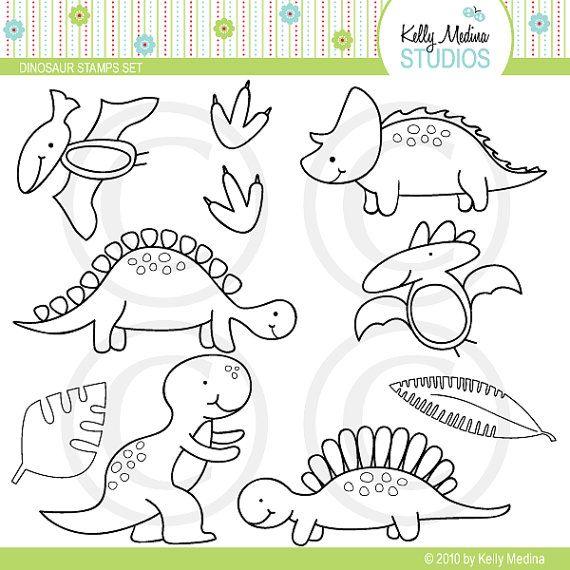 Dinosaurio sellos digitales uso de por Kellymedinastudios en Etsy