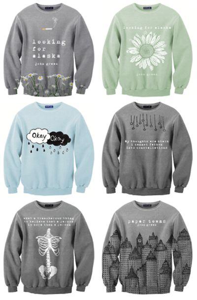 John Green novel inspired sweaters!!!
