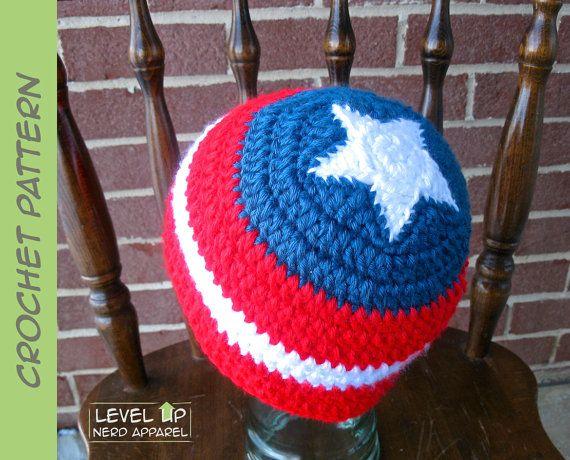 Captain America beanie CROCHET PATTERN 6 by LevelUpNerdApparel