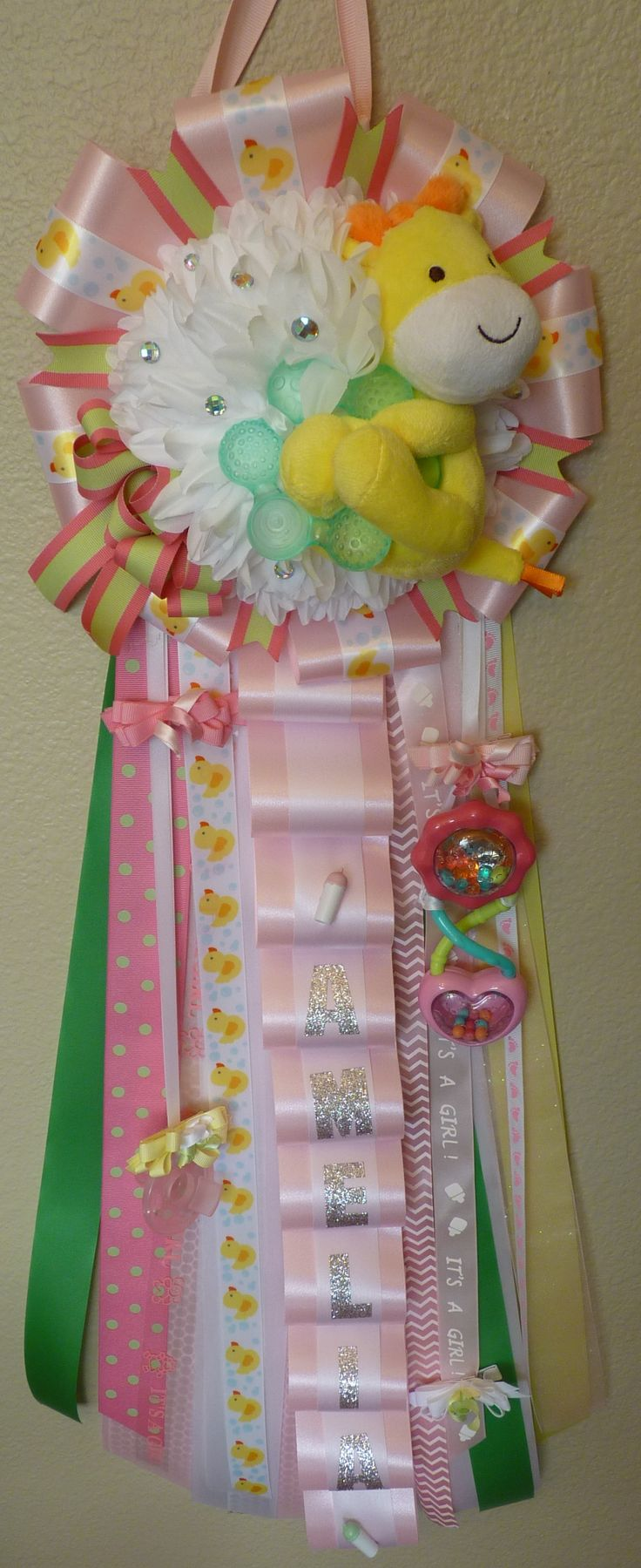 Welcome Baby Girl Mum. Great for a baby shower gift or hospital door decor. Visit www.peachykeenmums.com